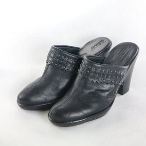 BORN Shoes Black Leather Studded Kilted Mules